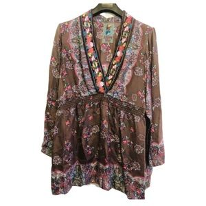 🍁 Johnny Was Floral Embroidery 100% Silk Tunic XL